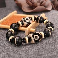 Frisado, Strands Boeycjr Tibetano Dzi Pedra Grânulos Pulseiras Pulseiras Handmade Moda Jóias Lucky Energia Natural Bracelete para Men1
