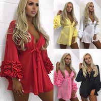 2020 Mini vestido Mujeres Largo Puff Sleeve Bikini Cover Up Túnica Pareo Sarong Trajes de baño Malla Sundress Robe