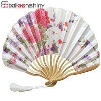파티 호의 Balleenshiny 절묘한 사쿠라 손 접는 팬 새틴 실크 모란 껍질 대나무 여름 일본식 댄스 디스플레이 장식