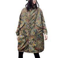 المرأة الخندق معاطف زائد حجم التمويه معطف المرأة الخريف الشتاء 2021 الصوف الفهد جيوب معطف الإناث أبلى
