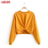 Tangada women orange bow hoodie sweatshirts crop 2020 autumn ladies casual pullovers tops JA44 Y1116