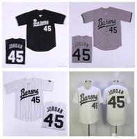 Мужские Бирмингем Бароны Джерси Майкл Джорь Дэн Новичок 45 Белый Серый Черный 100% Сшитые Бейсбол Джерси Высокое качество!