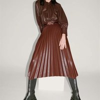 ZXQJ Femmes 2020 Fashion Chic Faux cuir irrégulière ourlet Jupe plissée Vintage taille haute Retour Zipper Femme Jupes longues
