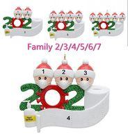 DHL Free Ship 2020 cuarentena navidad cumpleaños fiesta decoración del partido producto de regalo personalizado Familia personalizada de 4 ornamento Pandemic Social Distancia