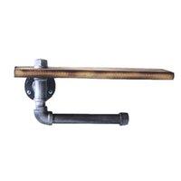 Hardware de estante de madera Inicio Instalar el soporte de papel 2 en 1 Tubería de hierro fundido Baño industrial Aseo Baño Rústico con tornillo T200425