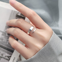 high quality Pure 925 Sterling Silver Simple Thin Dainty Adjust Ring Wedding Engagement Fashion Girls China jewellry Wholesale