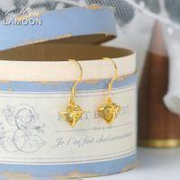 Lamoon 925 الفضة إسقاط أقراط للنساء رومانسية القلب الطبيعي السترين مجوهرات 14 كيلو الذهب الأصفر مطلي غرامة مجوهرات LMEIO013 B1204