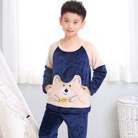 Pigiama dei bambini 2020 Ragazze invernali Ragazzi Abbigliamento da notte Sleepwear Abbigliamento per bambini Vestiti per bambini Animali Pajama dei cartoni animati Set di flanella calda Pigiama dei bambini W1222
