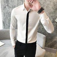 Camisas de vestido dos homens moda outono homens camisa marca magro fit casual para roupas 2021 longa manga fita patchwork smoking bluses1