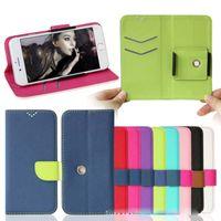 360 Rotating Universal PU Portafoglio in pelle PU Carta di credito Flip Phone Case 3.5inch a 6.0inch per iPhone Samsung Huawei LG Xiaomi