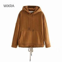 Wixra Womens Lace Up Sweatshirts Solid Femme Classic Hoodies Long Sleeve Autumn Spring Casual Pullover Tops LJ201124