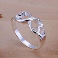 الجملة سعر للسيدة النساء المدرجة الفضة اللون مزدوج الصليب الدائري مجوهرات لطيف هدية R092 H SQCESC