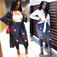 Jeans Big Lips Pattern Slim Sexy Pencil Pants Fashion OL Sty...