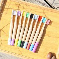 Brosse à dents pour enfants brosse à dents de bambou brosse à dents de la brosse à dents coloré bois de brosse à dents en bois brosses brosseeth casquette caisse orale