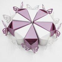 Regalo Wrap 50pcs Peal Light Butterfly Style Bomboniera Caramelle Cake Scatole per dolci per la festa di compleanno di nozze Baby Shower Box di alta qualità