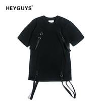 Heyguys heiße reine farbe t shirts männer mit gürtel hip hop straße tragen cool t-shirts mann baumwolle Hohe qualität übergroße mode lj200827