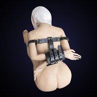SM PU Polsini da polso da polso in pelle, raccoglitori bracciali bracciali, braccia dietro gli accessori per la schiena, giocattoli donna esotica BDSM Y201118
