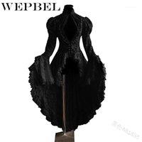 Vestidos casuais wepbel mulheres moda gótico smoking jaqueta medieval aristocrático senhoras manga longa laço costurado vampiro lolita cosplay dres