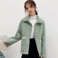 모피 여성 패션 대형 포켓 옷깃 칼라 롱 슬리브 느슨한 스트리트웨어 겉옷 Coat1와 함께 첨두 여성의 겨울 재킷