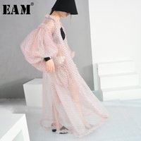 [EAM] Yeni Bahar Yaz V-yaka Uzun Fener Kollu Nokta Baskılı Perspektif Büyük Boy Uzun Gömlek Kadın Bluz Moda LJ200922