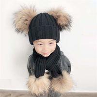 4 Parça Ponpon Şapka Eşarp Çocuklar Kış Beanie Erkek Kız Kış Kap Çocuk Gerçek Kürk Ponpon Şapkalar Bebek Örme Şapka Ve Eşarp Seti LJ201020