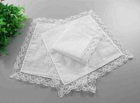 Кружева тонкий носовой платок белая женщина свадебные подарки партии украшения ткань салфетки простые чистые платок высокого качества LLS92