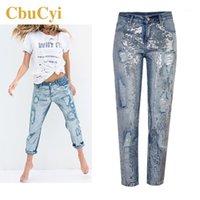 Женские джинсы Cbucyi мода женская одежда свободно прямые блестение промытые дыры джинсовые брюки женские повседневные хлопковые брюки1
