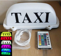 TAXI Sign Car Driver Cab Roof Top Light Remote Color Change Rechargeable Battery