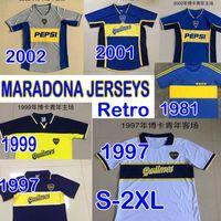 Diego Maradona Retro BOCA Juniors Fussball Jersey 1981 1997 1999 2001 2002 Vintage Classic Palermo Veron Kurze Longsleeves Männer Fußballhemden