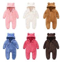 6 Renkler Çocuklar Sonbahar Kış Sevimli Yün Tulum Romper Bebek Kız Erkek Erkek Tek Parça Kulak Tasarımcısı Kapşonlu Açık Tırmanma Giysileri G12702