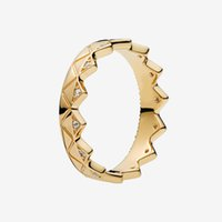 Желтые позолоченные мужские кольца CZ Алмазные Женщины Партии Ювелирные Изделия Для Стерлингового Серебра 925 Геометрическое Корольное кольцо с коробкой