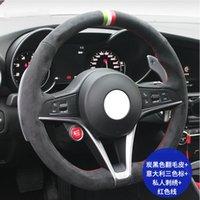 DIY Couts à la main Véritable Faux Turn Turn Turn Turn Volant Volant pour Alfa Romeo Giulia Stelvio 15inch 38cm Haute Qualité Noir