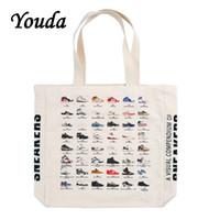 Youda التصميم الأصلي الأحذية الرياضية الكلاسيكية المطبوعة قماش كيس سعة كبيرة الأزواج نمط صغير حقائب الكتف حقيبة التسوق حقيبة Q1230