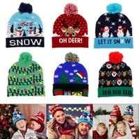 LED Christmas Hat Sweater Knitted Beanie Hat Christmas Light Knitted Gift for Kids Adult 2020 New Year Decorations