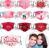 День Святого Валентина Индивидуальные взрослые маски для лица хлопчатобумажные пылезащитные 3D отпечатки респиратора моющиеся RRREUSABLE INSERT PM2.5 фильтрующие маски 10 стилей