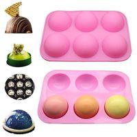 Pastel de cupcake Herramienta de cocina DIY Muffin Herramienta de cocina 6 hoyos de silicona Molde para hornear para hornear 3D Bakeware Chocolate Half Ball Molde