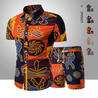 2020 Summer Men Fashion Floral Print Shirts + Shorts Sets Ma...