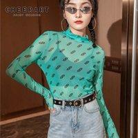 CHEERART Mesh Top Long Sleeve T Shirt Women Turtleneck See Through Tshirt Transparente Print Tight Ladies Top Fall Clothes A1112