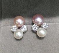 Stud Natural Acqua fresca perla orecchino doppia argento sterling 925 con zircone cubico Belle donne gioielli