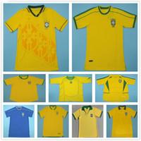 1957 1970 1970 1970 1970 1970 1970 1970 1970 1970 1970 1970 1970 1970 2002 2004 2006 Retro Brasil Soccer Jerseys Rivaldo Romario Ronaldo Ronaldo Vintage Classic Kit da calcio