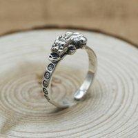 FNJ PIXIU Moneda de la moneda 925 joyería de plata nueva moda linda s925 anillos de plata esterlina para mujeres hombres tamaño ajustable 6.5-9 bague