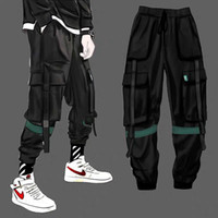 Cargo Pants Men Solid Color Black Loose Casual Jogger Pocket...