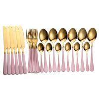Tabracwellware 24шт столовые приборы вилки ножи ложки столовые посуды коробка из нержавеющей стали столовые приборы золотая вилка ложка ножа набор посуды 201128