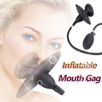 Inflatable Silicone Air Sac Pump Mouth Gag Fetish Bondage BDSM Restraint Adult Erotic Sex Toys for Women Lesbian Couples Y201118