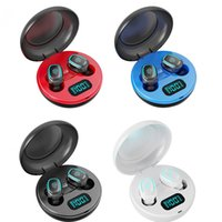 New Wireless Earphones A10 TWS Bluetooth 5.0 Wireless HiFi In-Ear Earphones with Round Digital Charging Box Sports Headphones Earbuds