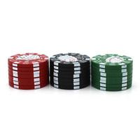 Bolsa de estilo de microplaqueta de poker 40 mm 3 peças erva moedor de alumínio tabaco triturador acessórios de fumo DHL rápido