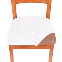 سبانديكس مطاطا غطاء مقعد الشتاء الصلبة اللون القابل للإزالة غسل الغبار المخملية كرسي يغطي كراسي الطعام وسادة الساخن بيع 7ZF M2