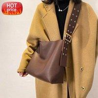 SWDF Composite Shoulder Leather 2021 Handbags For Bag Trend Branded Color Belt Women Designer Women's Wide Solid Bucket #bs6N Tfloq