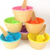 Barn Glass Skålar Ice Cream Cup Par Skål Gåvor Dessert Container Hållare Med Sked Bästa Barn Presentförsörjning Till Salu