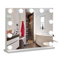 WACO-Make-up-Spiegel mit Lichtern USB-Outlet Hollywood-Eitelkeitspiegel, 3 Farbmodi Kosmetikspiegel, rahmenloser Tischspiegel mit intelligenter Berührung